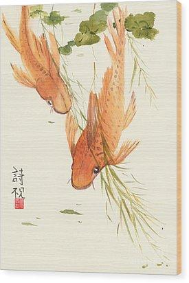 Oriental Koi II Wood Print by Sandy Linden