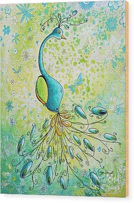 Original Acrylic Bird Floral Painting Peacock Glory By Megan Duncanson Wood Print by Megan Duncanson