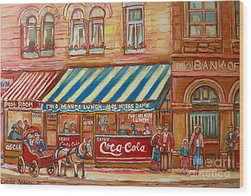 Original Bank Notre Dame Street Wood Print by Carole Spandau