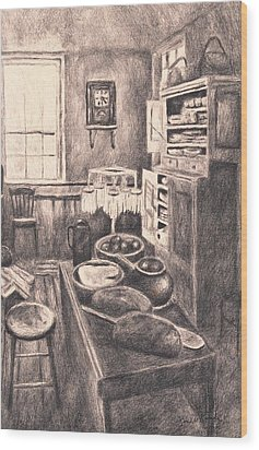 Original Old Fashioned Kitchen Wood Print by Kendall Kessler