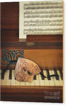 Ornate Mask On Piano Keys Wood Print by Jill Battaglia