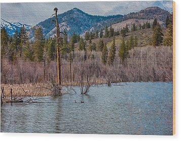 Osprey Nest In A Beaver Pond Wood Print by Omaste Witkowski