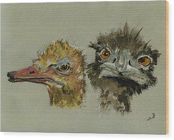 Ostrichs Head Study Wood Print by Juan  Bosco