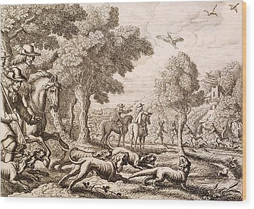 Otter Hunting By A River, Engraved Wood Print by Francis Barlow