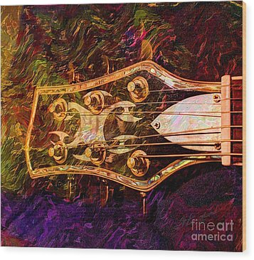 Out Of Tune Digital Guitar Art By Steven Langston Wood Print by Steven Lebron Langston