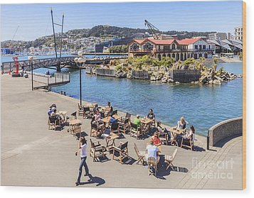 Outdoor Cafe Wellington New Zealand Wood Print by Colin and Linda McKie