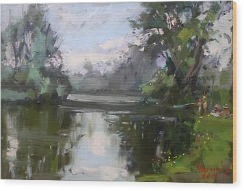 Outdoors At Hyde Park Wood Print by Ylli Haruni