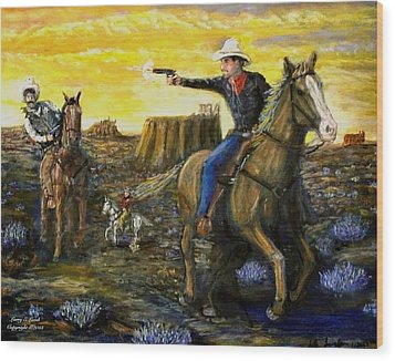 Outlaw Trail Wood Print by Larry E Lamb
