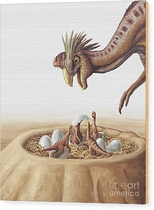 Oviraptor And Nest Wood Print by Spencer Sutton