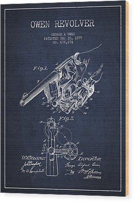 Owen Revolver Patent Drawing From 1899- Navy Blue Wood Print by Aged Pixel