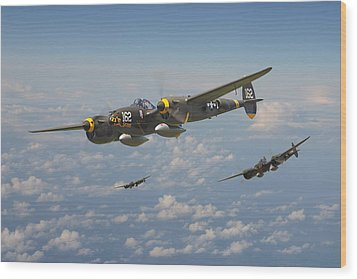P38 Lightning - Pacific Patrol Wood Print by Pat Speirs