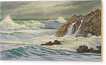 Pacific Grove Seascape Wood Print by Paul Krapf