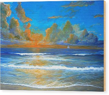 Pacific Reflections Wood Print by Keith Wilkie