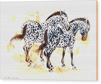 Pair Of Appaloosa Horses With Leopard Complex Wood Print by Kurt Tessmann
