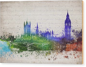 Palace Of Westminster Wood Print by Aged Pixel