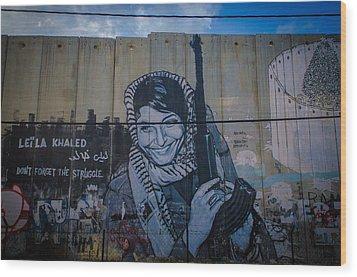 Palestinian Graffiti Wood Print by David Morefield