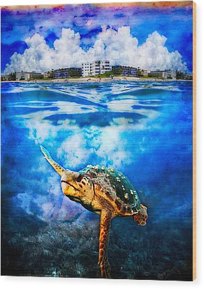 Palm Beach Under And Over Wood Print by Debra and Dave Vanderlaan