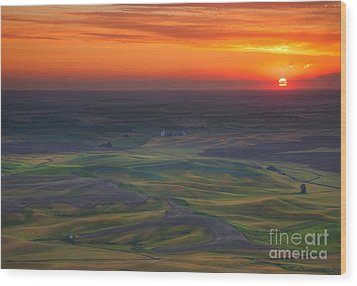 Palouse Sunset Wood Print by Mike  Dawson