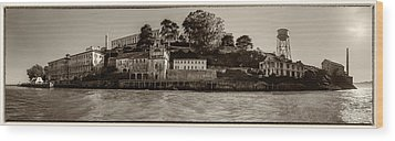 Panorama Alcatraz Torn Edges Wood Print by Scott Campbell