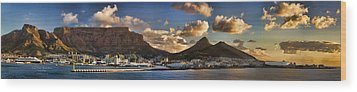 Panorama Cape Town Harbour At Sunset Wood Print by David Smith