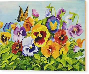 Pansies With Butterfly Wood Print by Janis Grau