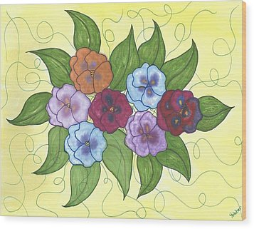 Pansy Posy Wood Print by Susie WEBER
