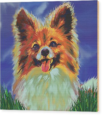 Papillion Puppy Wood Print by Jane Schnetlage