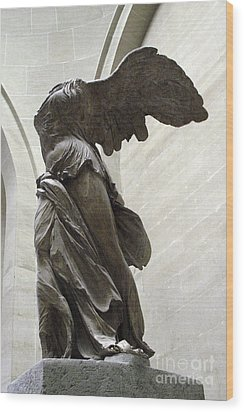 Paris Angel Louvre Museum- Winged Victory Of Samothrace Wood Print by Kathy Fornal
