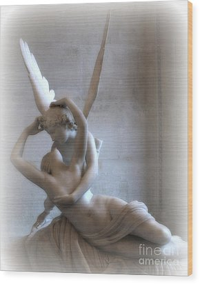 Paris Eros And Psyche Angels Louvre Museum - Paris Angel Art - Paris Romantic Eros And Psyche Art  Wood Print by Kathy Fornal