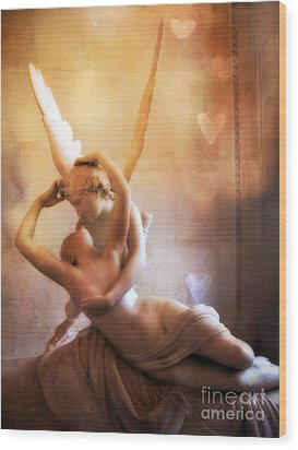 Paris Eros And Psyche Louvre Museum- Musee Du Louvre Angel Sculpture - Paris Angel Art Sculptures Wood Print by Kathy Fornal