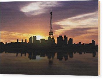 Paris France Sunset Skyline  Wood Print by Aged Pixel