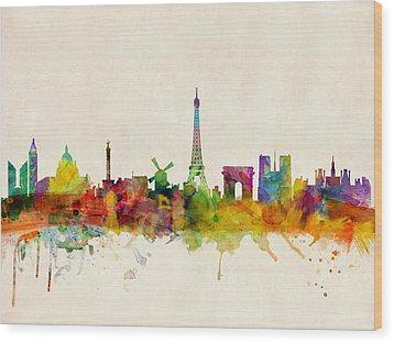 Paris Skyline Wood Print by Michael Tompsett