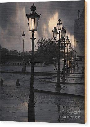 Paris Surreal Louvre Museum Street Lanterns Lamps - Paris Gothic Street Lamps Black Clouds Wood Print by Kathy Fornal