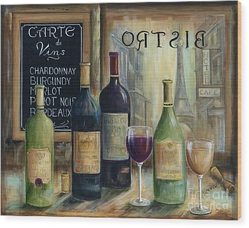 Paris Wine Tasting Wood Print by Marilyn Dunlap