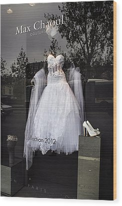 Parisian Wedding Dress Wood Print by Glenn DiPaola