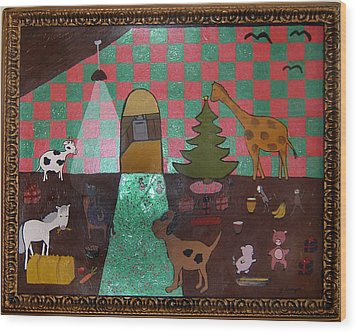 Party Animals  Wood Print by Yvonne  Kroupa