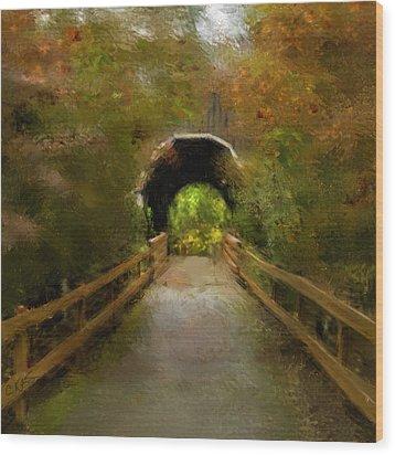 Pass Creek Bridge Wood Print by Dale Stillman