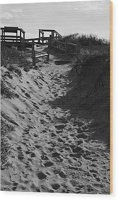 Pathway Through The Dunes Wood Print by Luke Moore
