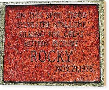 Pats Steaks - Rocky Plaque Wood Print by Benjamin Yeager