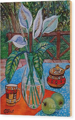 Peace Lilies On The Patio Wood Print by Caroline Street