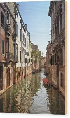 Peaceful Canal Wood Print by Kim Andelkovic