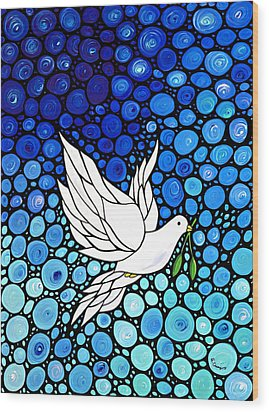 Peaceful Journey - White Dove Peace Art Wood Print by Sharon Cummings