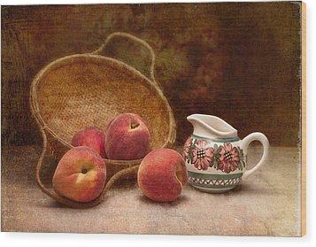 Peaches And Cream Still Life II Wood Print by Tom Mc Nemar