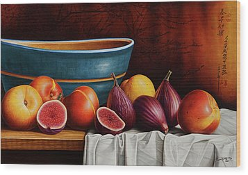 Peaches And Figs Wood Print by Horacio Cardozo
