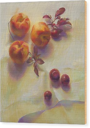 Peaches And Plums Wood Print by Cathy Locke