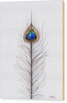 Peacock Abstract Wood Print by Tara Thelen