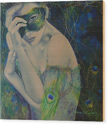 Peacock Enigma Wood Print by Dorina  Costras