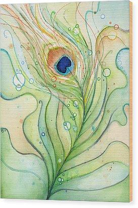 Peacock Feather Watercolor Wood Print by Olga Shvartsur