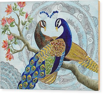 Peacock Love Wood Print by Susy Soulies