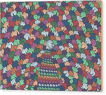 Peacock Plumage Wood Print by Susie WEBER